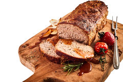 Tasty roasted meat loaf with roasted vegetables Stock Photos