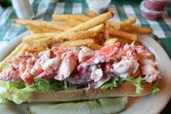 Tasty Roll Full Of Fresh Maine Lobster Stock Photography