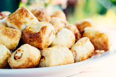 Tasty rolls with cheese and ham Stock Images