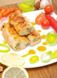 Rolls with chicken and vegetables Stock Image