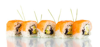 Tasty rolls in line with chopsticks Stock Image