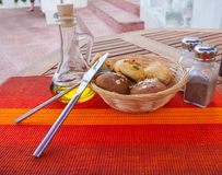 Tasty rolls lying on a white napkin Royalty Free Stock Photo