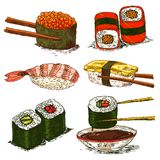 Tasty rolls and sushi set Stock Photography
