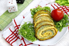 Tasty roulade with cheese and vegetables. Fresh tasty roulade with cheese and vegetables Royalty Free Stock Photos