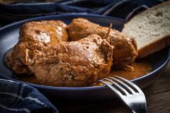 Tasty roulades beef on plate. Royalty Free Stock Images
