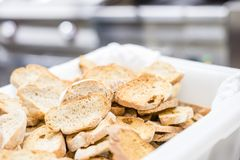 Tasty rusks in a big amount in a basket stock photography