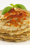 Pancakes with caviar Stock Photo