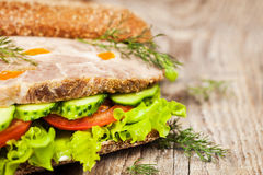 Tasty rye bread sandwiches with roast meat and vegetables Stock Images