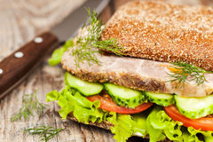 Tasty rye bread sandwiches with roast meat and vegetables Stock Image