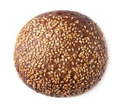 Tasty rye bread with sesame seeds isolated. On white Royalty Free Stock Images