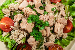 Tasty salad with couscous, tuna and vegetables Stock Photo