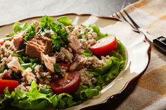 Tasty salad with couscous, tuna and vegetables Royalty Free Stock Photos