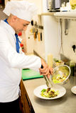 Tasty salad garnishing by chef. Royalty Free Stock Image