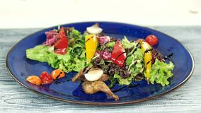 Tasty salad with sauce. Vegetables and roasted quail stock video