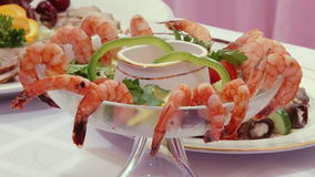 Tasty salad of shrimp with sauce on Swedish table. stock video