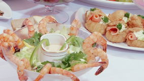 Tasty salad of shrimp with sauce on Swedish table. stock video footage