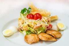A tasty salad of vegetables, herbs and cheese, with boiled eggs and pieces of fried meat, on a white plate. Horizontal frame royalty free stock images