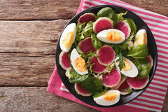 Tasty salad of watermelon radishes, eggs, spinach and herbs clos Stock Photography