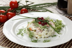 Tasty salad in white dish Royalty Free Stock Images