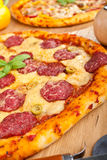 Tasty Salami and Olives Pizza Royalty Free Stock Photo