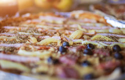 Tasty Salami Pizza with Vegetables and spices Placed on plate Stock Image
