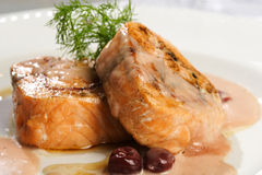 Tasty salmon fillet. Salmon fillet ready to be served Royalty Free Stock Photo