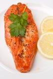 Tasty Salmon with Lemon Stock Photo