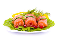 Tasty salmon rolls Stock Image
