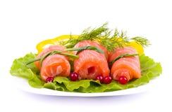 Tasty salmon rolls Stock Image