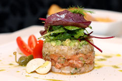 Tasty salmon tartar Royalty Free Stock Images