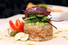 Tasty salmon tartar Royalty Free Stock Images