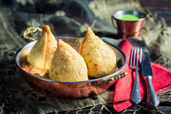 Tasty samosa with dip Royalty Free Stock Image