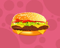Tasty sandwich or burger vector illustration. Royalty Free Stock Photography