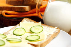 tasty sandwich with cheese and cucumber Royalty Free Stock Photography