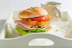 Tasty sandwich with cheese, ham and tea Stock Image