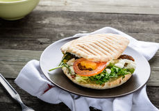 Tasty Sandwich with Fresh Vegetables Stock Photo