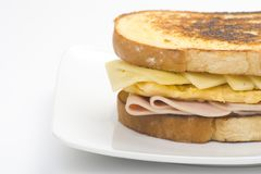 Tasty sandwich of ham and cheese omelet Royalty Free Stock Photo