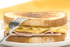 Tasty sandwich of ham and cheese omelet Stock Photography