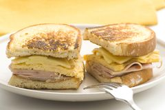 Tasty sandwich of ham and cheese omelet Stock Image
