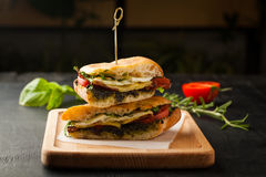 Tasty sandwich with meat, fried egg, cheese and pesto Royalty Free Stock Photo