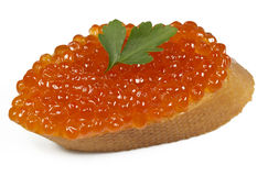 Tasty sandwich with red caviar Royalty Free Stock Photos
