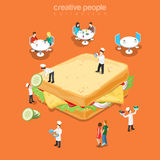 Tasty sandwich restaurant fast food menu flat vector isometric Royalty Free Stock Photography