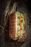 Tasty sandwich with roasted chicken, lettuce and tomato royalty free stock photo