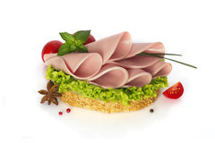 Tasty sandwich with sausage Stock Photography