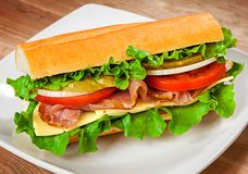 Tasty sandwich on the table Stock Image