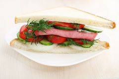 Tasty sandwich on a white plate. Royalty Free Stock Photos