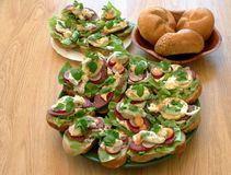 Tasty sandwiches in kitchen royalty free stock images