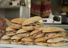 Tasty sandwiches with pork for sale Royalty Free Stock Photo