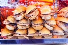 Tasty sandwiches with pork stock photo