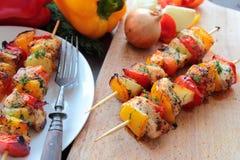 Tasty sashliks with vegetables Royalty Free Stock Image